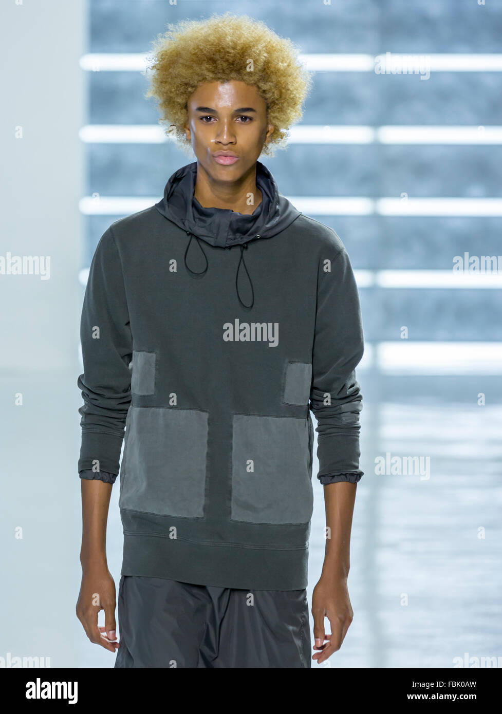 NEW YORK, NY - JULY 15, 2015: Michael Lockley walks the runway during John Elliott + CO show at NYFW Men's S/S 2016 - Stock Image