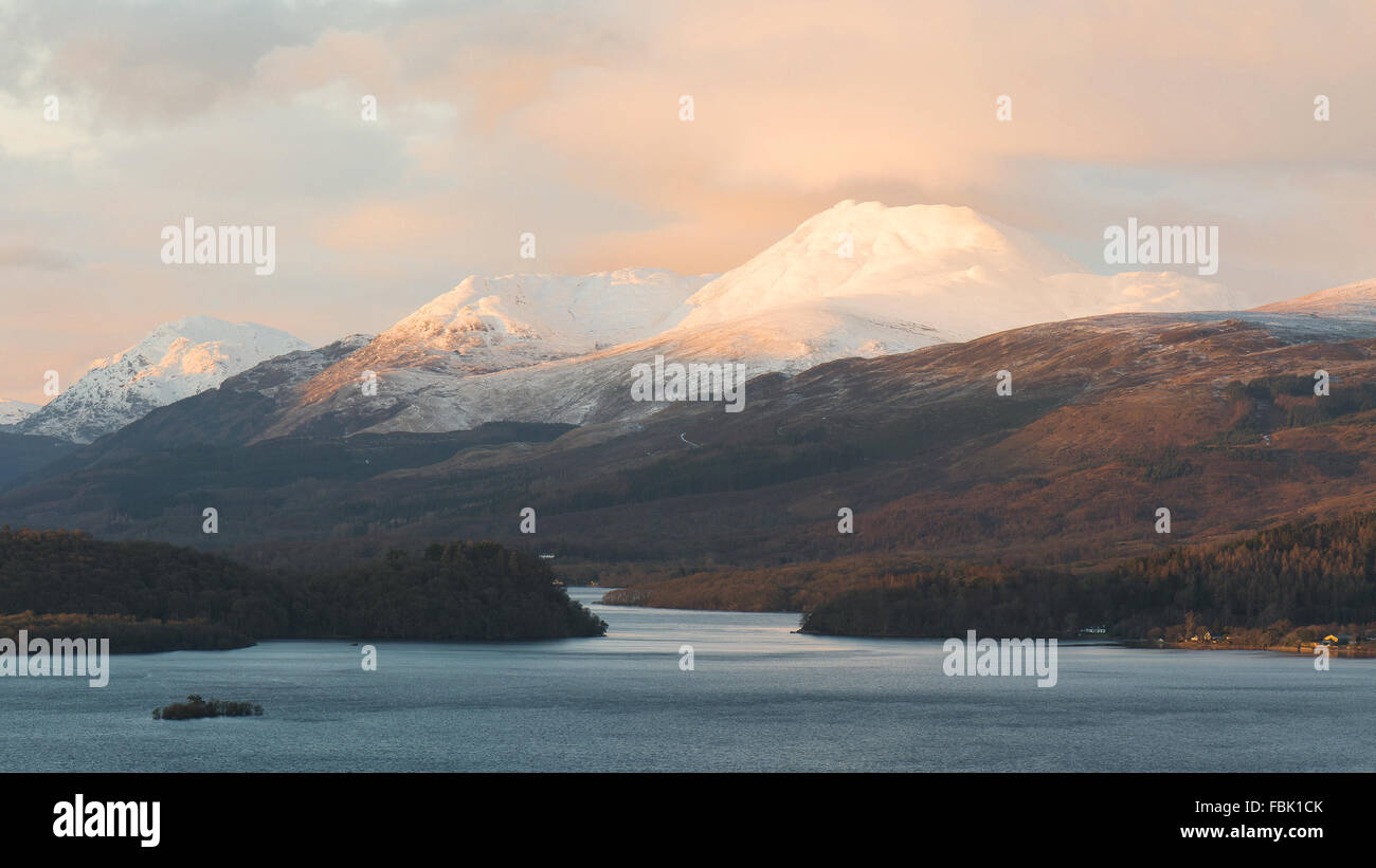 Ben Lomond winter sunset alpenglow - Stock Image