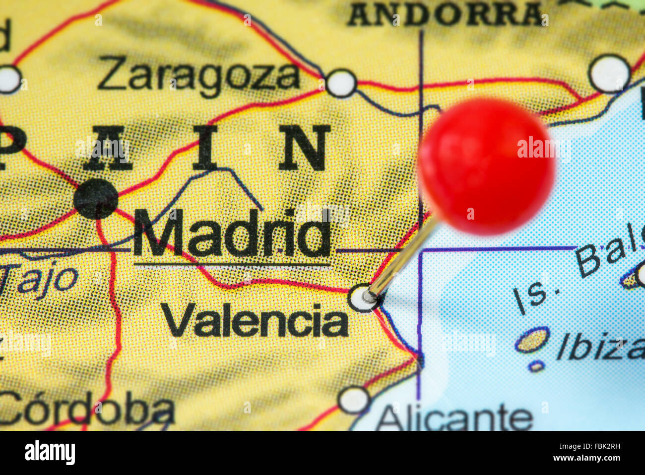 Valencia Map Of Spain.Close Up Of A Red Pushpin In A Map Of Valencia Spain Stock Photo