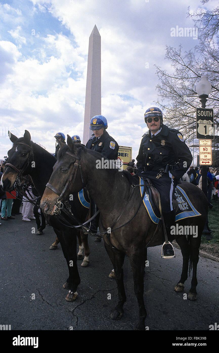 Washington, DC., USA,6th November, 1990 U.S. Park Police horse mounted officers at Pro-Choice Rally. The United Stock Photo