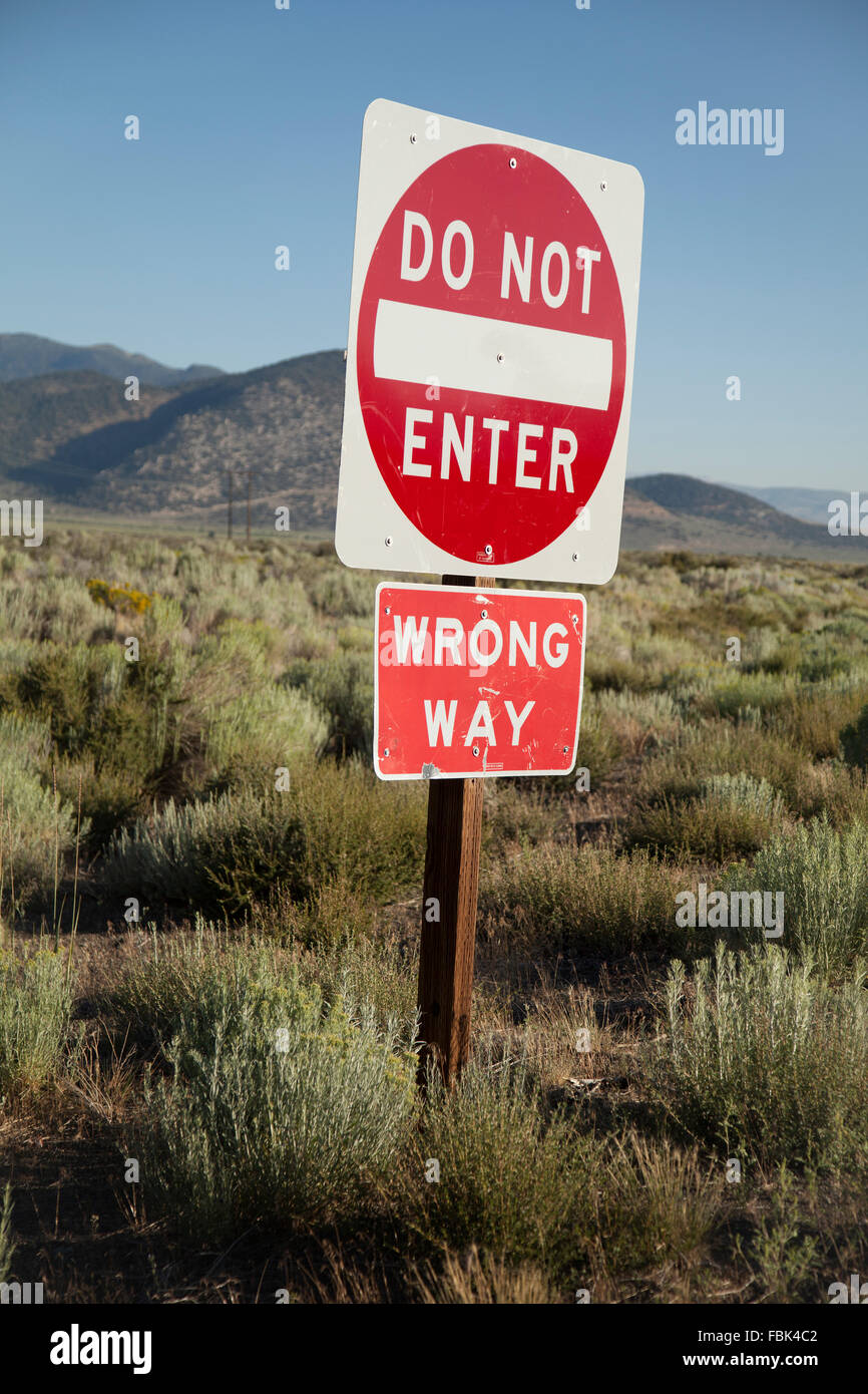 'Do Not Enter' 'Wrong Way' Road Sign - Stock Image