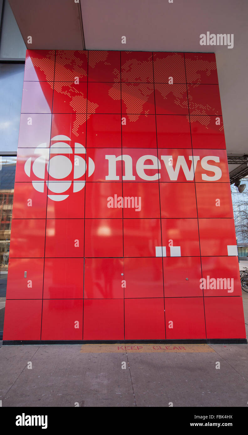 TORONTO - DECEMBER 24, 2015: CBC News is the division of the Canadian Broadcasting Corporation responsible for the - Stock Image
