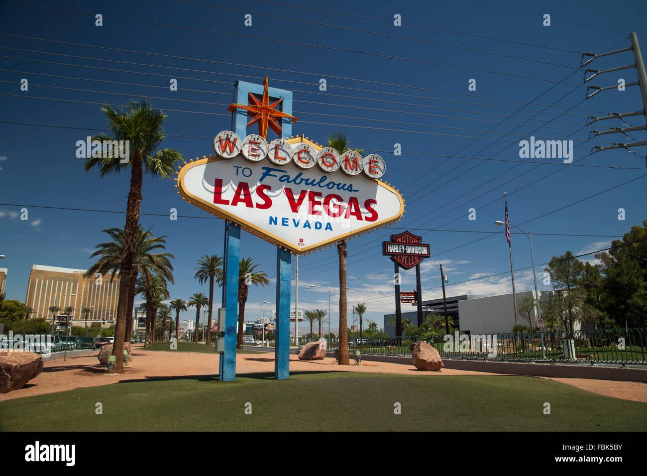 The 'Welcome to Las Vegas' Sign on the Strip, Las Vegas Stock Photo