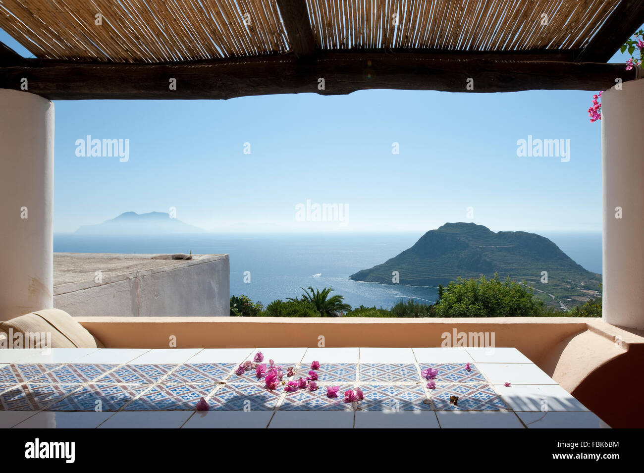 Sea view from balcony off the island of Filicudi, Eolie; Sicily Stock Photo