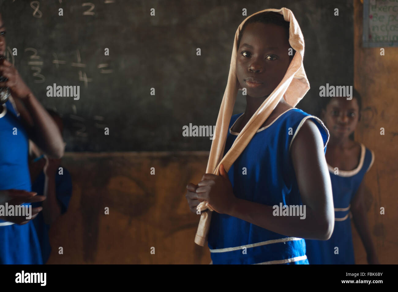 Portrait of girl at local school in Ghana - Stock Image