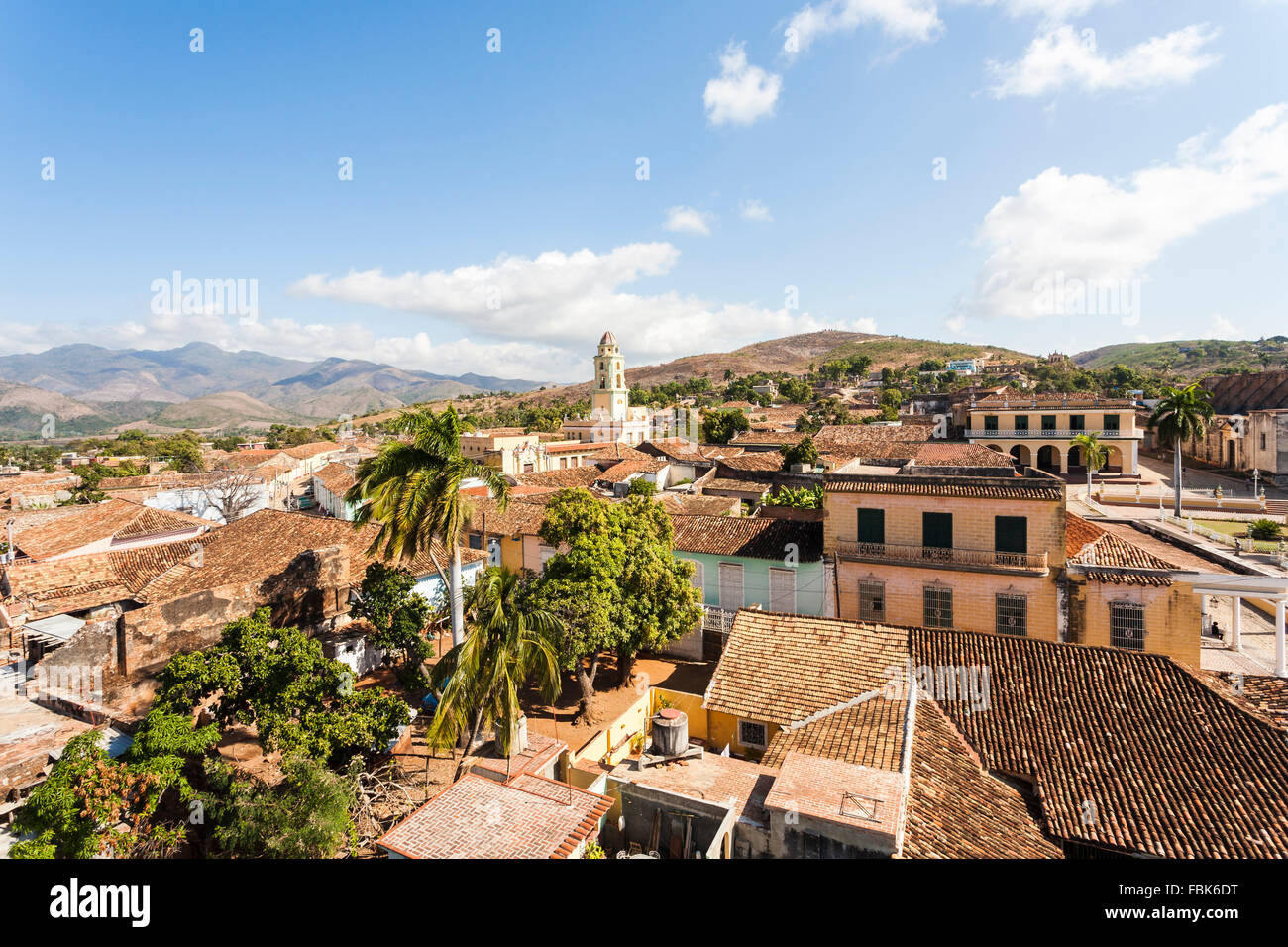 Panoramic rooftop view over Trinidad, Cuba with Iglesia Parroquial de la Santísima (Church of the Holy Trinity) - Stock Image