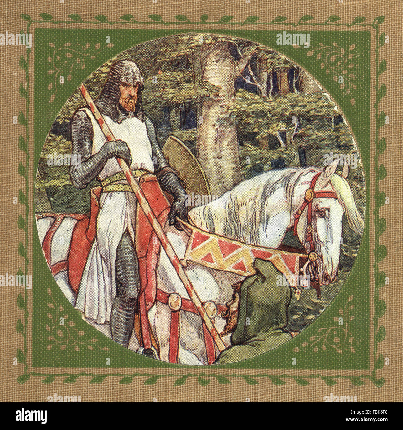 Illustration from the story of Robin Hood.  Little John and the Knight. By Walter Crane - Stock Image