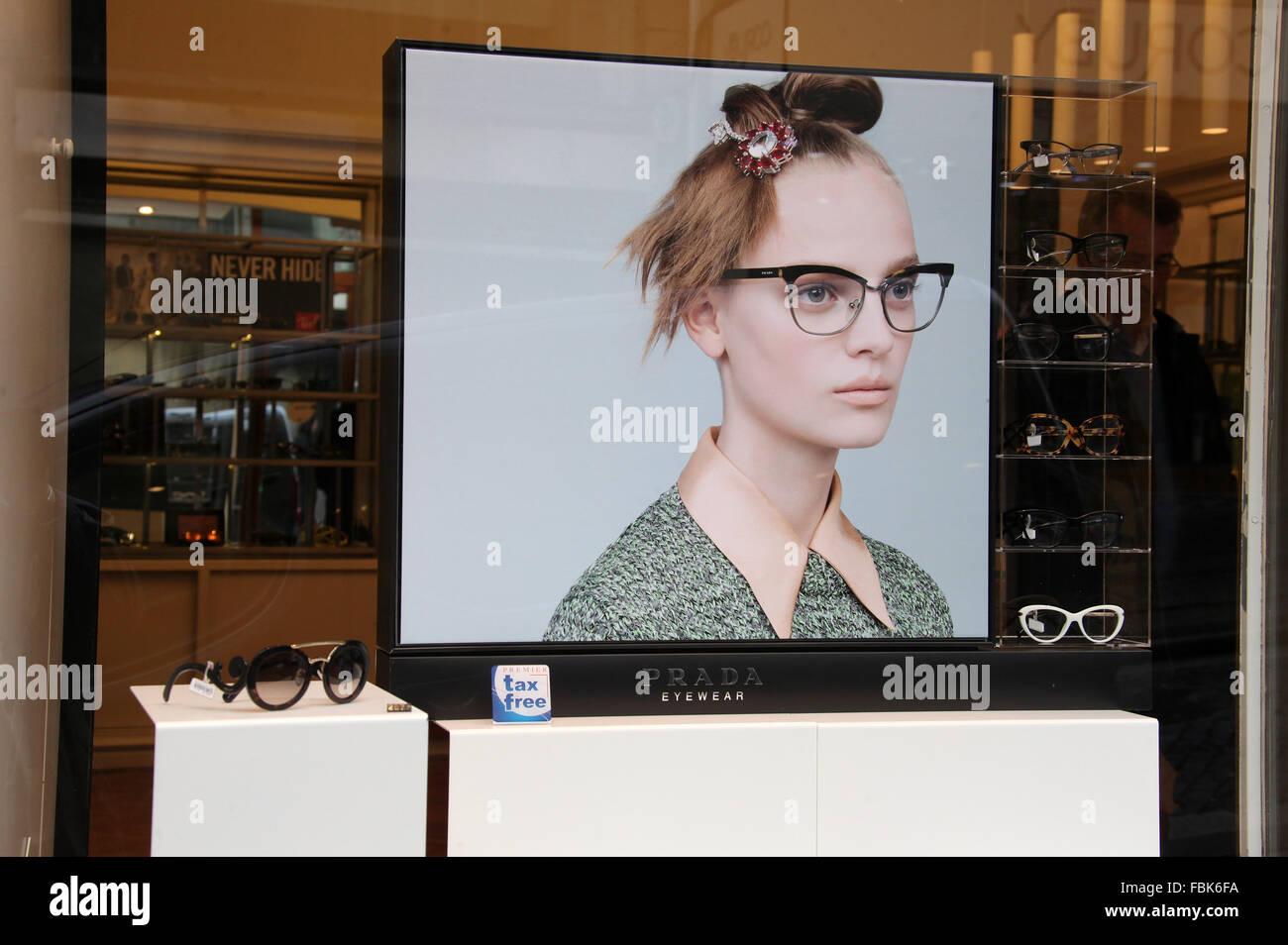 Prada Eyewear Advertisment in Portugal - Stock Image