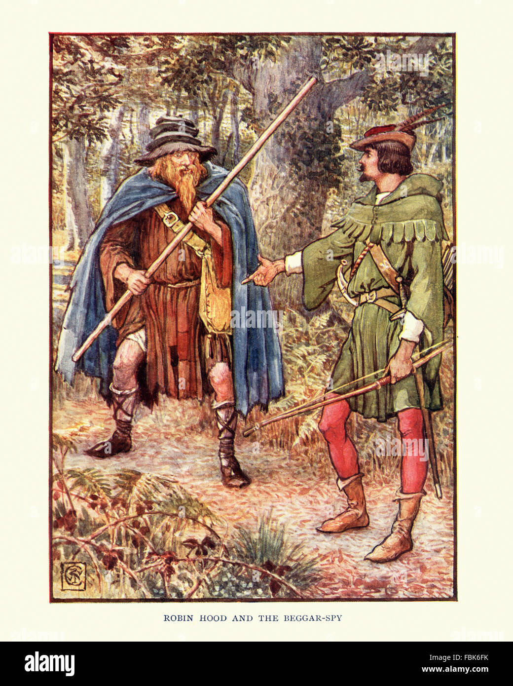 Illustration from the story of Robin Hood. Robin Hood and the Beggar Spy. By Walter Crane - Stock Image