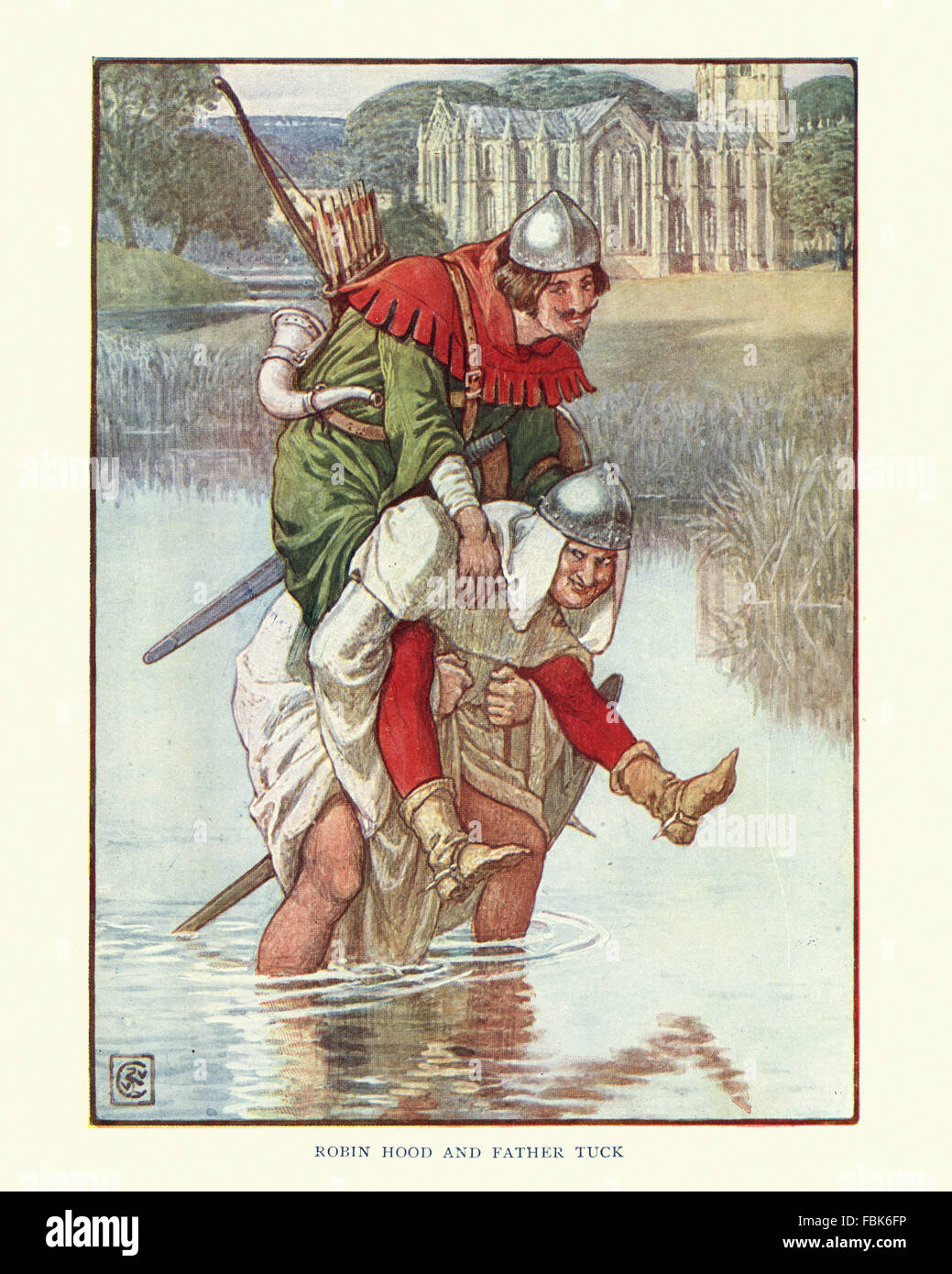 Illustration from the story of Robin Hood. Friar Tuck carrying Robin Hood on his back. By Walter Crane - Stock Image
