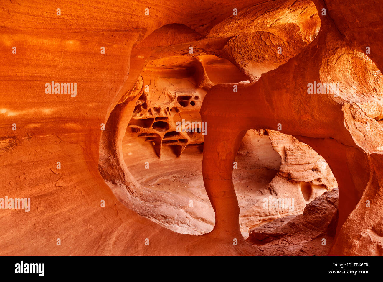 Windstone Arch, Fire Cave, Valley of Fire, State Park, Nevada - Stock Image