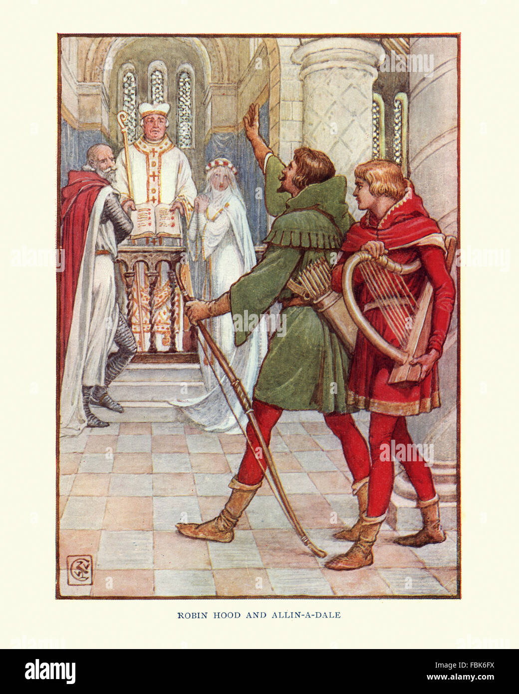 Illustration from the story of Robin Hood. Robin Hood and Alan-a-Dale. By Walter Crane - Stock Image