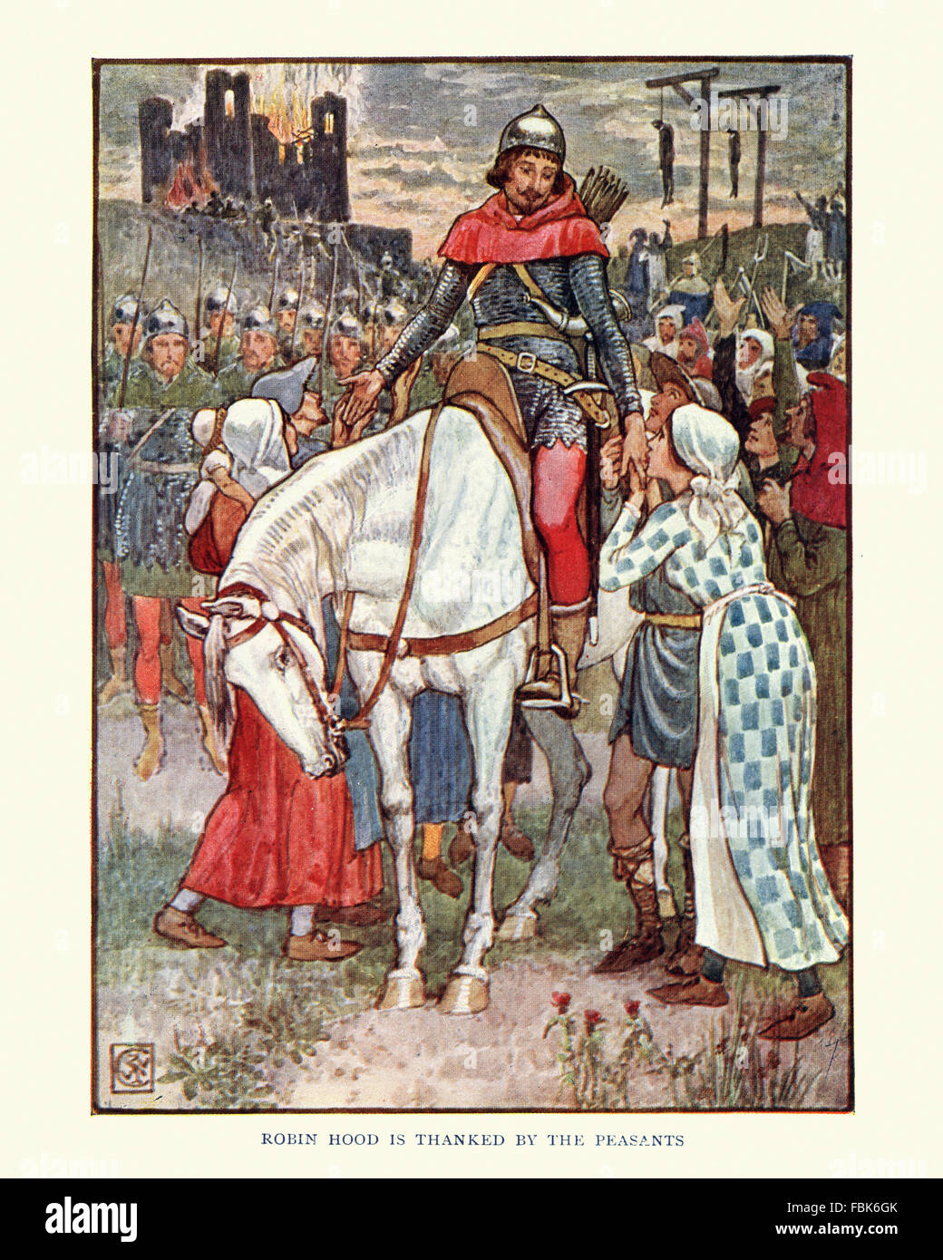 Illustration from the story of Robin Hood. Robin Hood is thanked by the Peasants. By Walter Crane - Stock Image