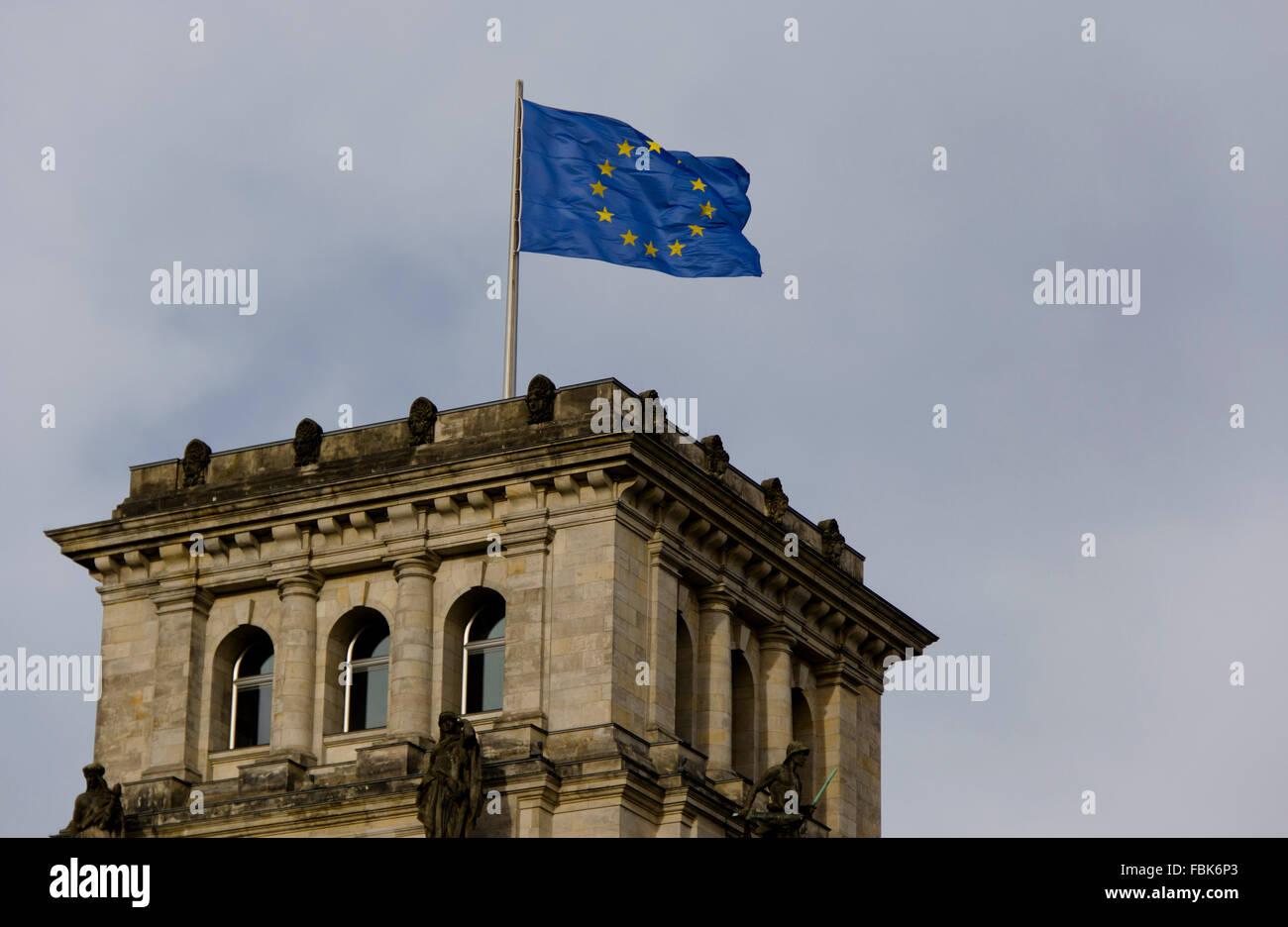 parliament, house, parliament building, congress, flag, banner, european union, building, architecture, architectonics, - Stock Image