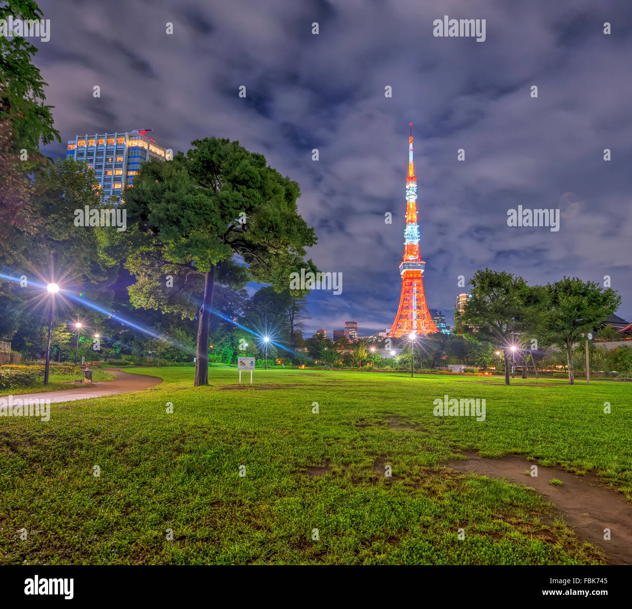 The view of Tokyo Tower at night from a park in Tokyo city, Japan - Stock Image