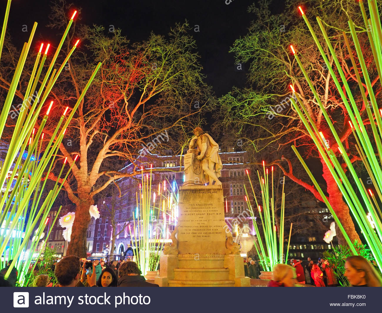 View of the Garden of Light in Leicester Square part of Lumiere London 2016 - Stock Image