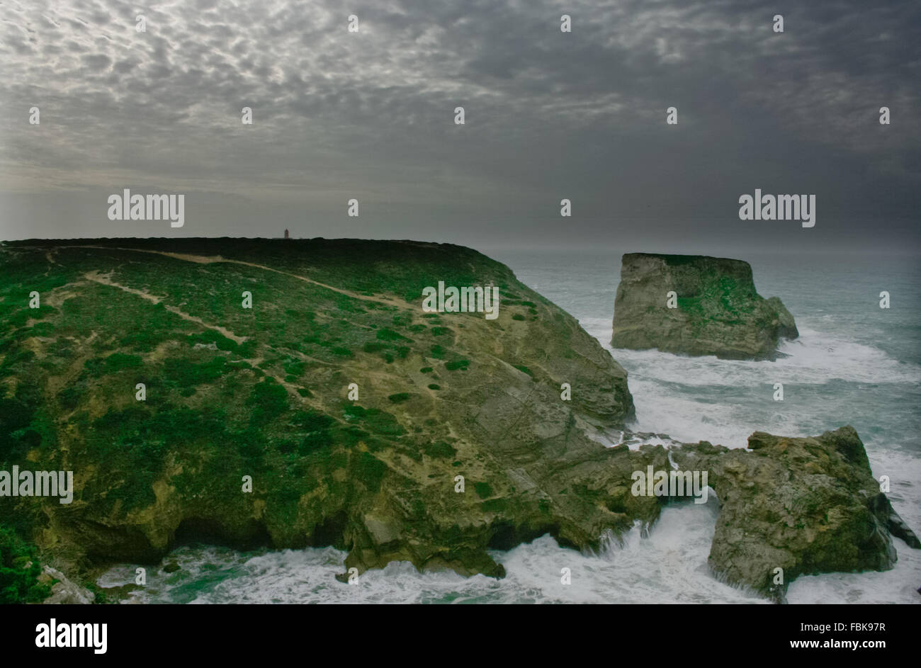 Stormy sunset at Saint Vicent cliffs, Algarve, Portugal Stock Photo
