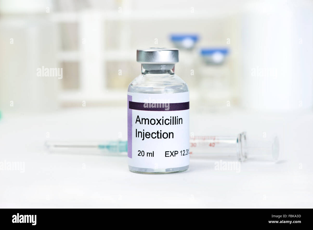 Amoxicillin injection. Label is fictitious, and any resemblance to actual products is purely coincidental. - Stock Image