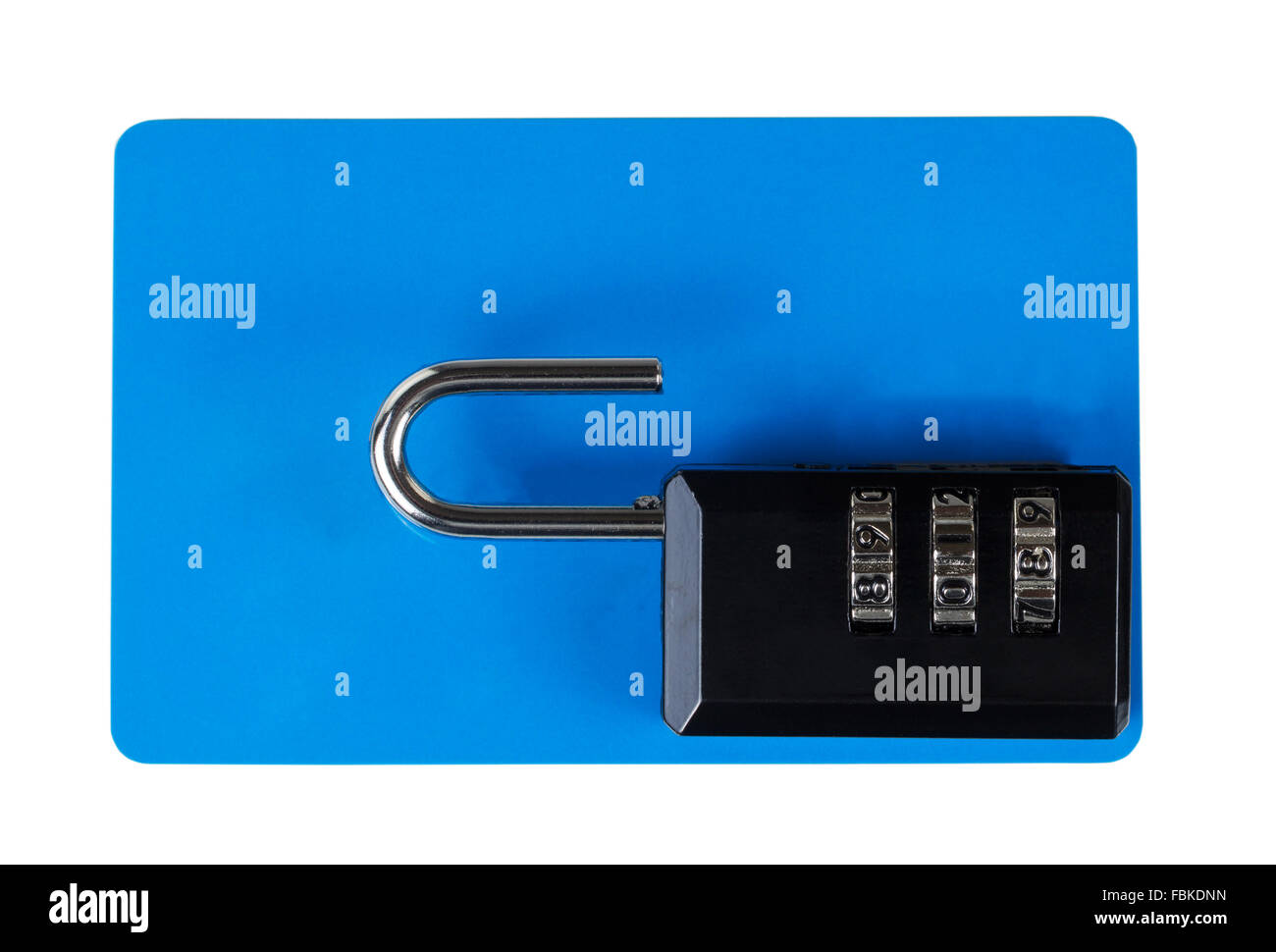 Blank plastic credit card with combination lock on top. Isolated on white. Security concept. - Stock Image