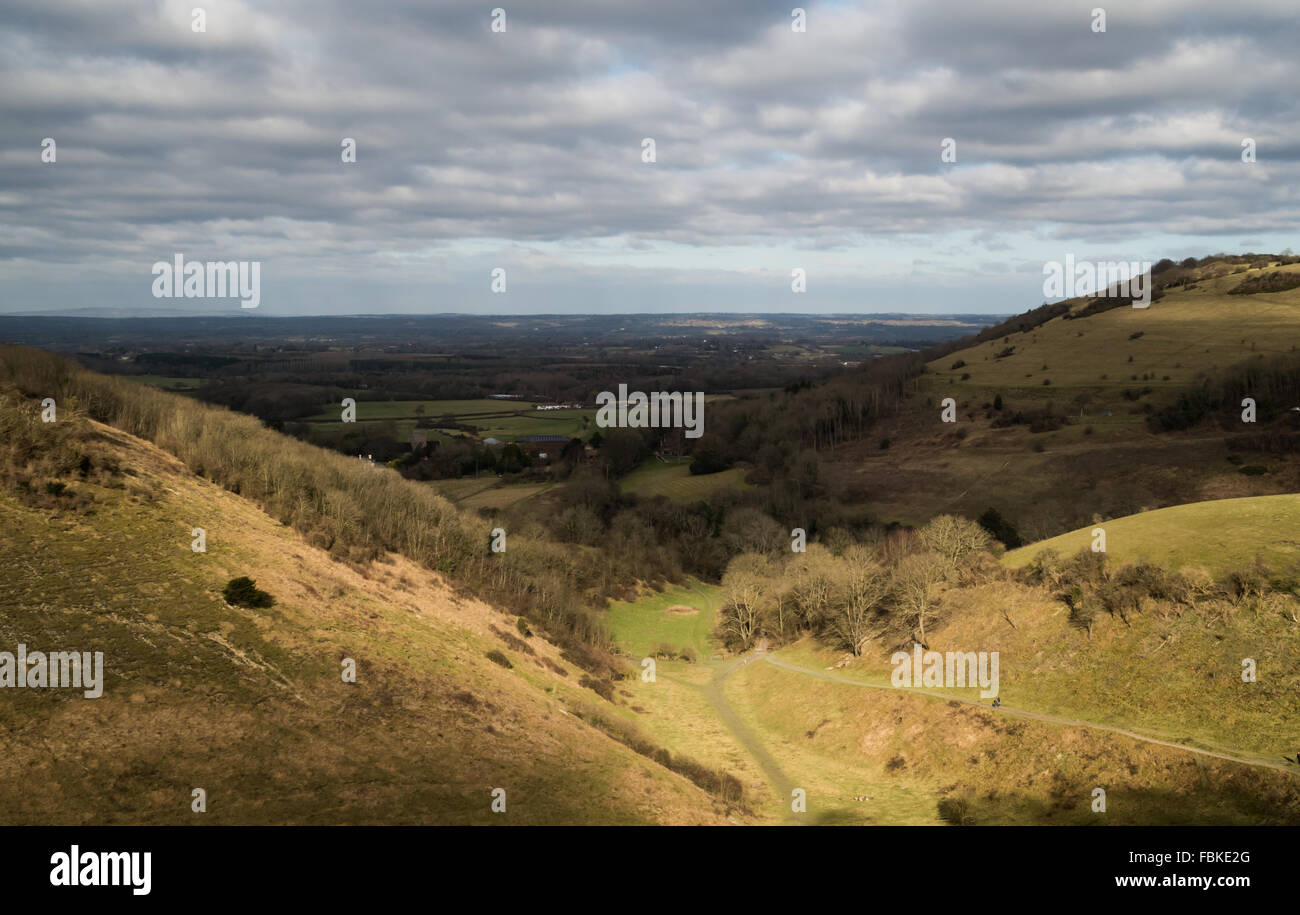 View of the hills and valleys of South Downs National Park across Sussex countryside near to Devil's Dyke in - Stock Image