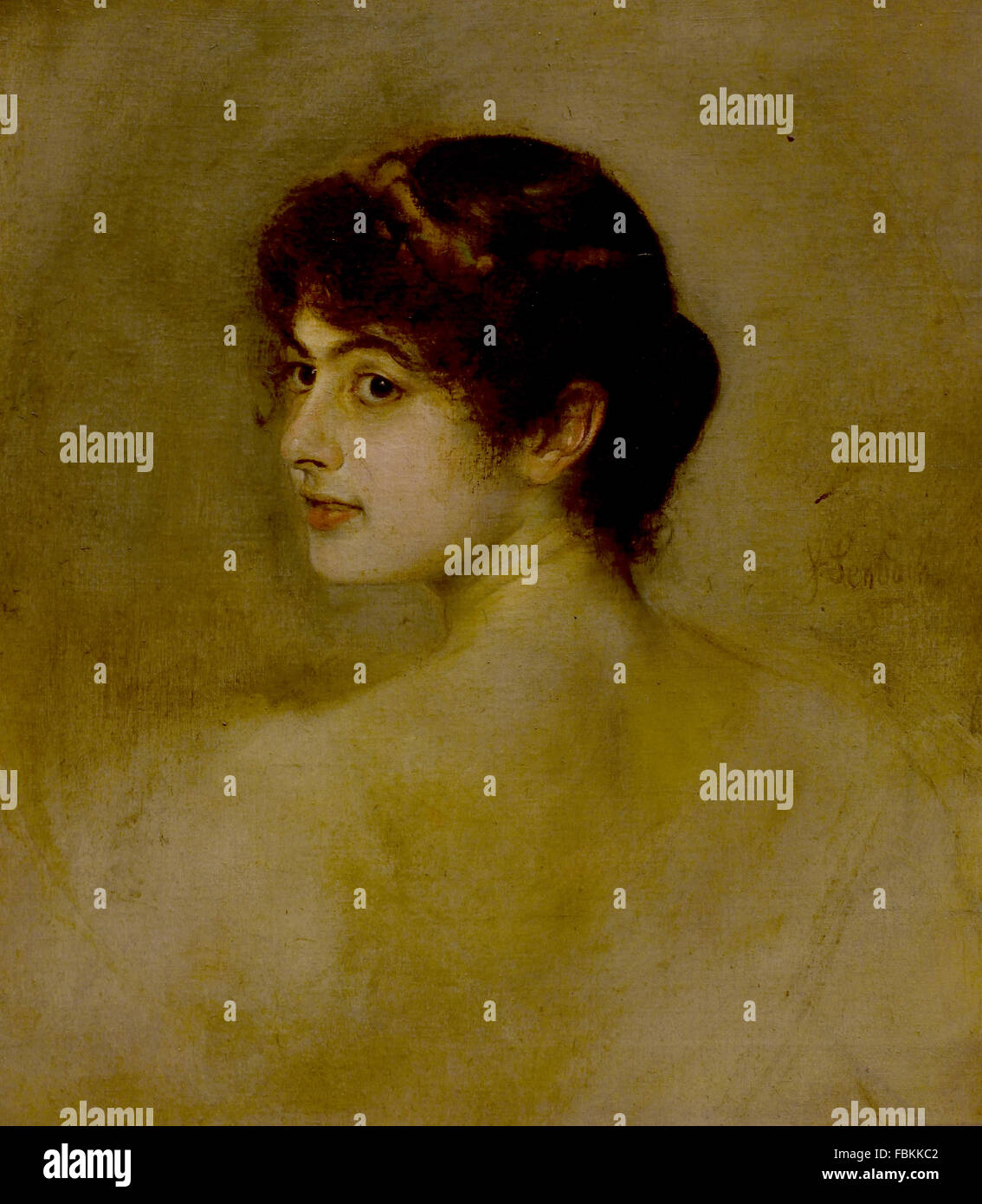 Portrait of a Woman by Franz von Lenbach 1836-1904 German Germany Museum Painting - Stock Image
