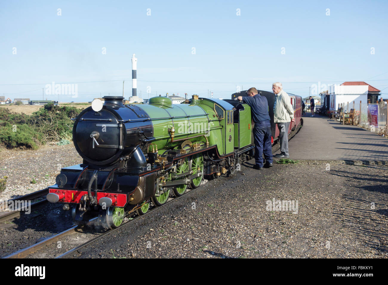 England, Kent, Dungeness. The miniature  locomotive, 'Green Goddess' on the Romney Hythe and Dymchurch railway. Stock Photo