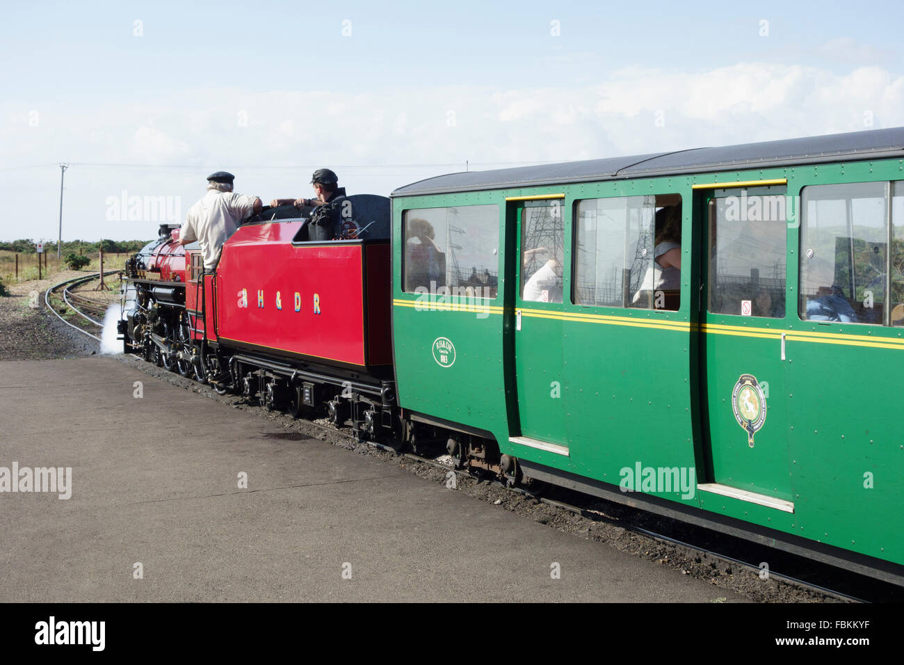 England, Kent, Dungeness. The miniature steam locomotive, 'Winston Churchill' prepares to leave the station Stock Photo