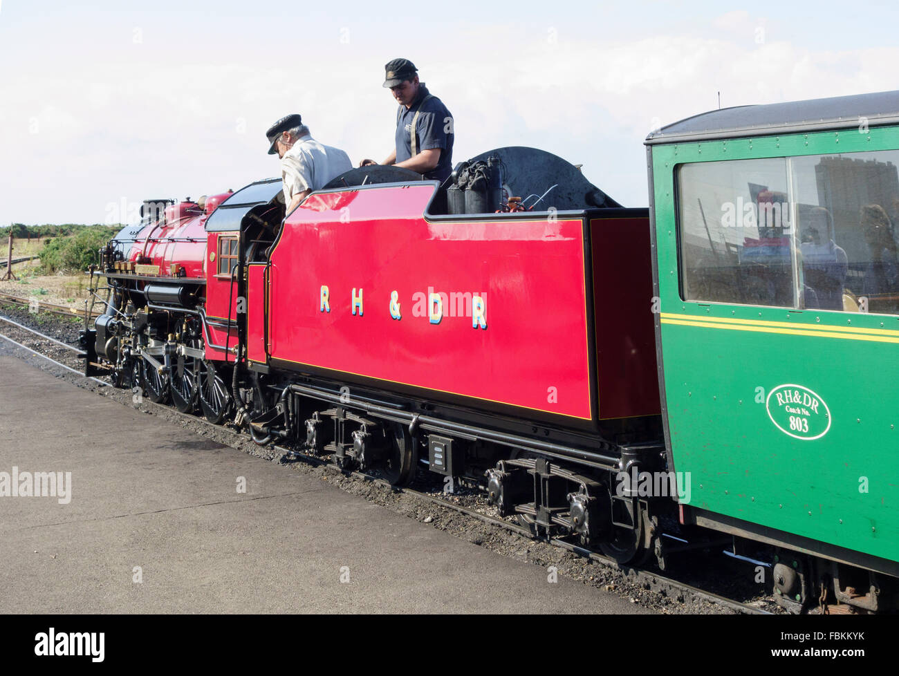 England, Kent, Dungeness. The minature steam locomotive, 'Winston Churchill' prepares to leave the station Stock Photo