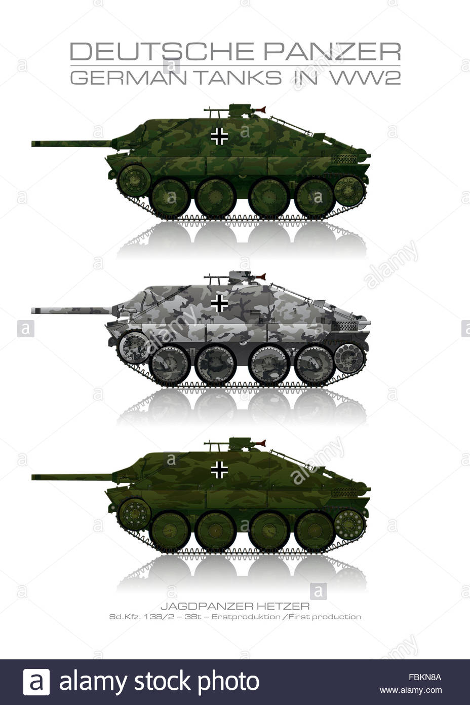Sd. Kfz. 138/2 - German tank - Panzer. Jagdpanzer 38(t) - Hetzer - Early production. The German Wehrmacht. - Stock Image