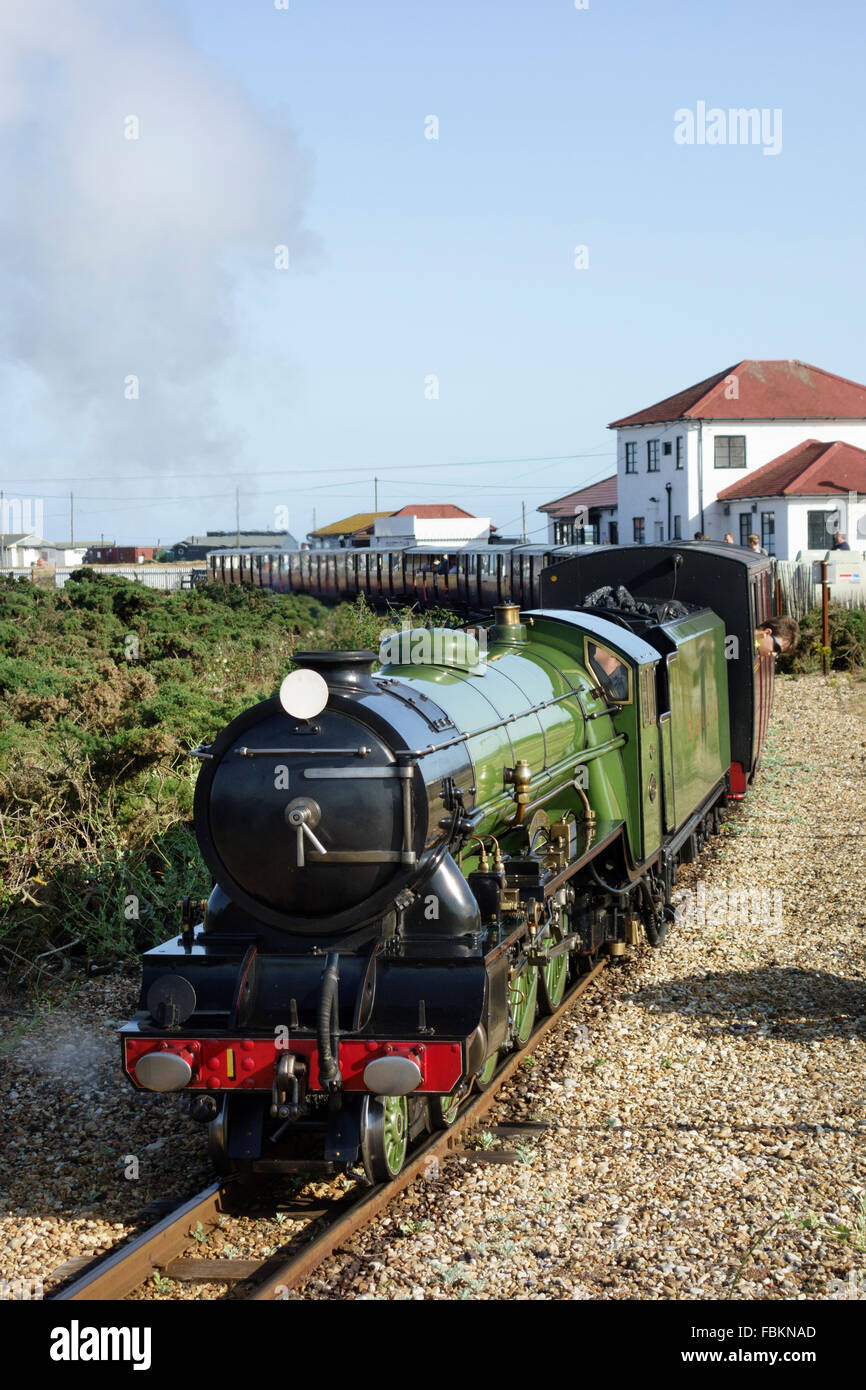 England, Kent, Dungeness. The miniature steam locomotive, 'Green Goddess' on the Romney Hythe and Dymchurch railway. Stock Photo