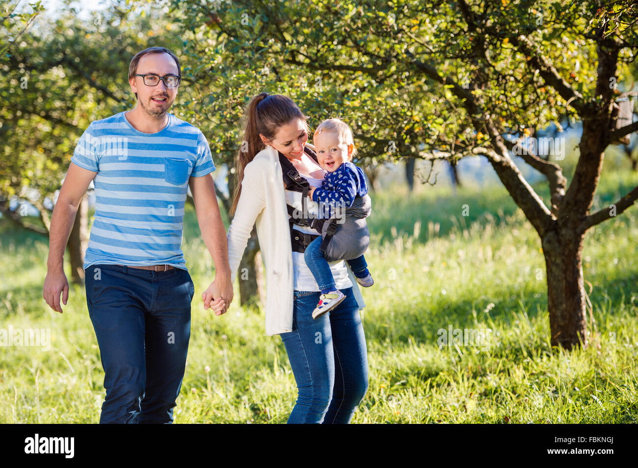 Happy family in nature - Stock Image