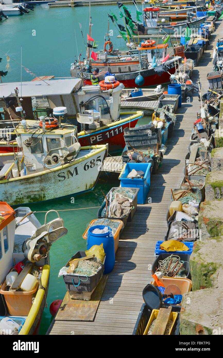 Fishing boats at Brighton Marina, East Sussex, England - Stock Image