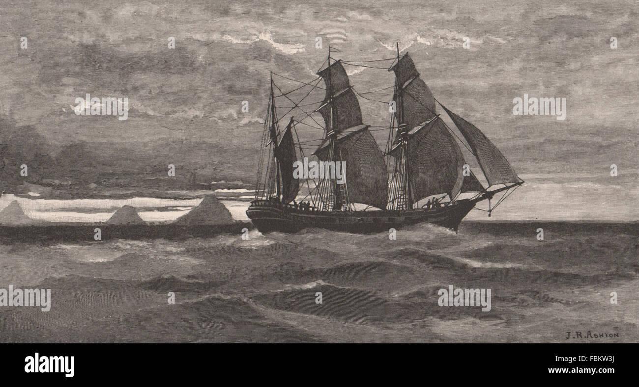 Captain Cook sighting the GLASSHOUSE MOUNTAINS. Australasia. Australia, 1888 - Stock Image