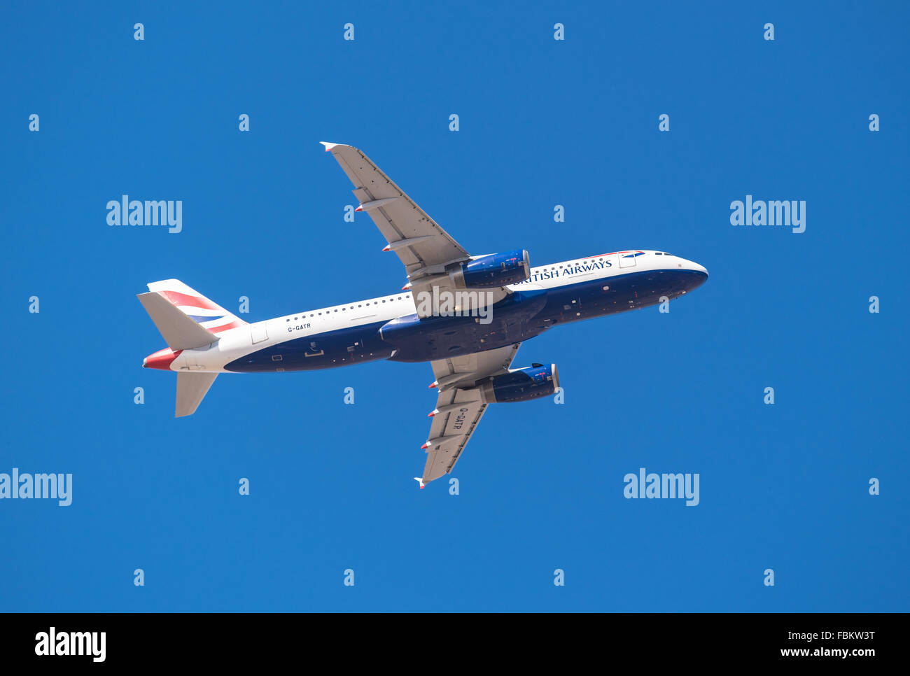 TENERIFE, SPAIN - JANUARY 13: British Airways Airbus 320 is taking off from Tenerife South airport on January 13, - Stock Image