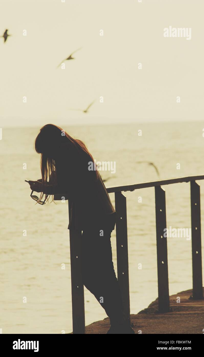 Woman Using Phone While Standing At Lakeshore - Stock Image