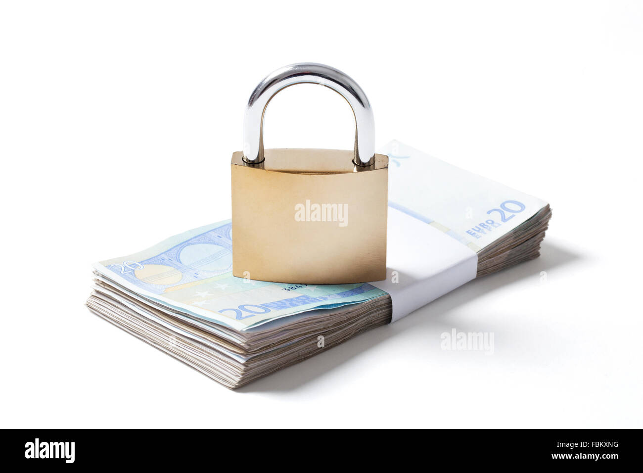Wad of twenty euros banknotes with locked padlock on it isolated on white background. Image with a clipping path. - Stock Image