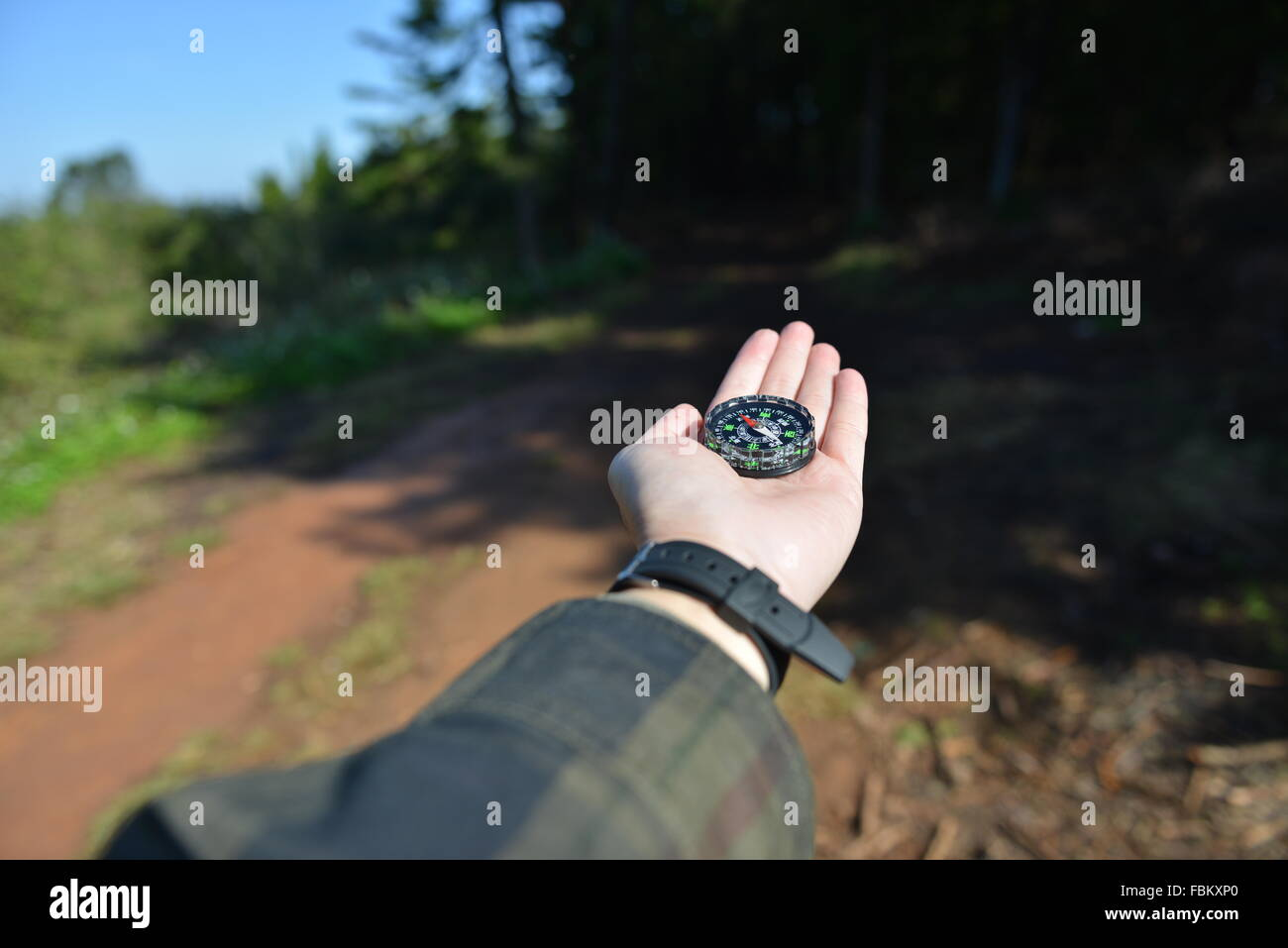 compass, directions, drive, driving, highways, lost, map, maps, navigate, navigating, roads, vacations backpacking, - Stock Image
