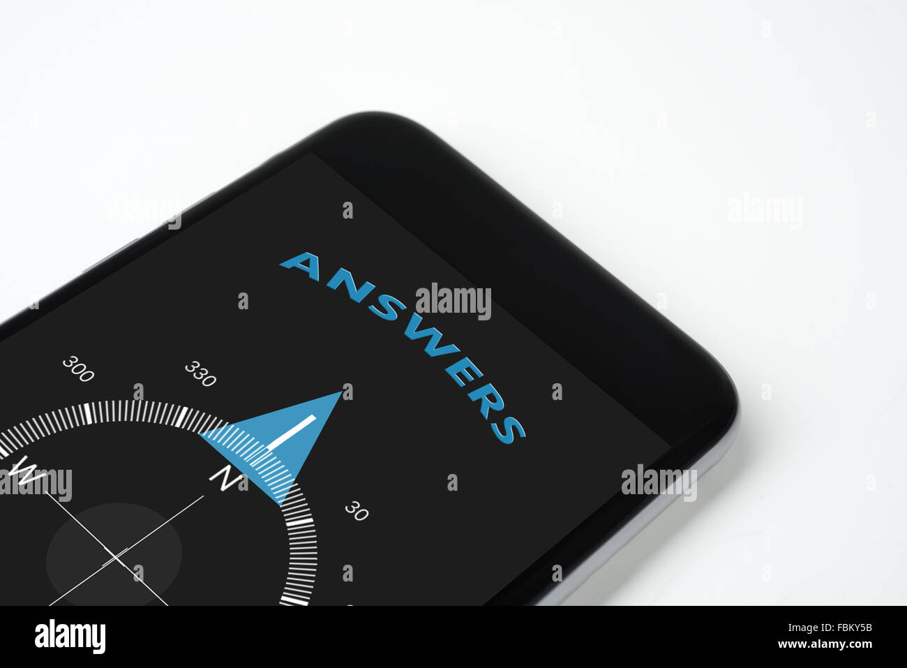 handy compass with text and arrow answers. - Stock Image