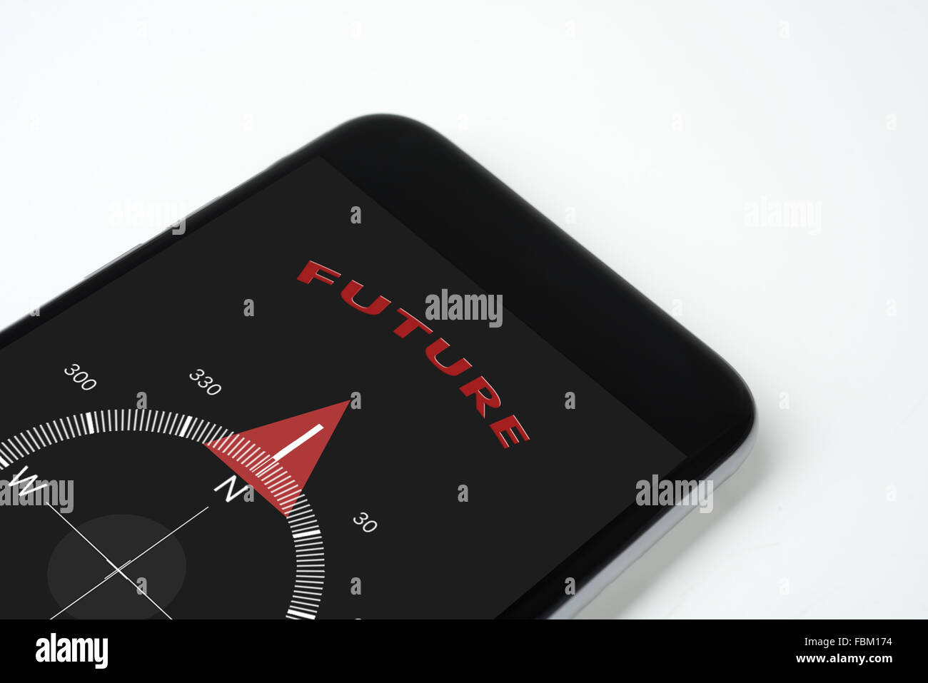 handy compass with text and arrow Future. - Stock Image