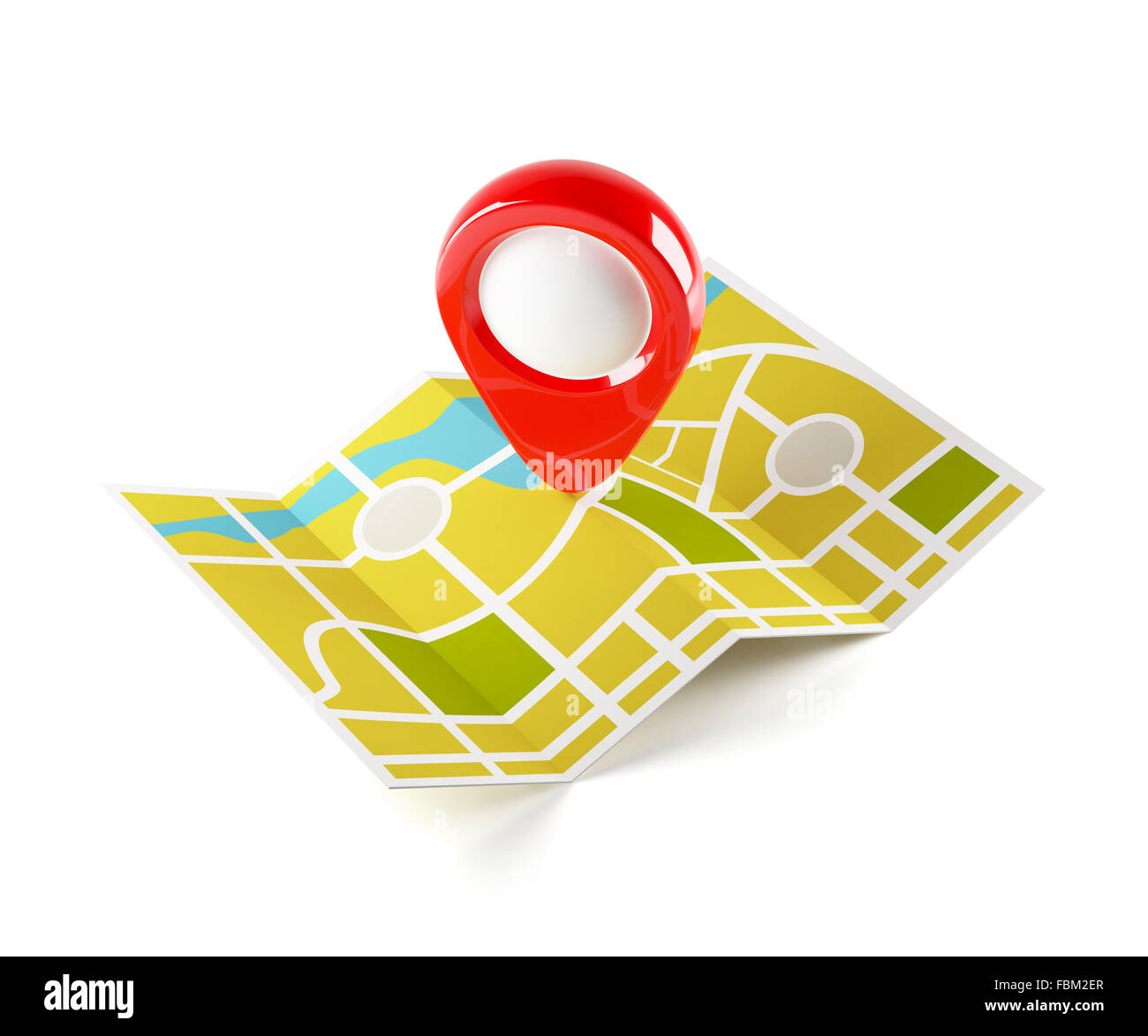 3d illustration of navigation map with guide line. Isolated on white background - Stock Image