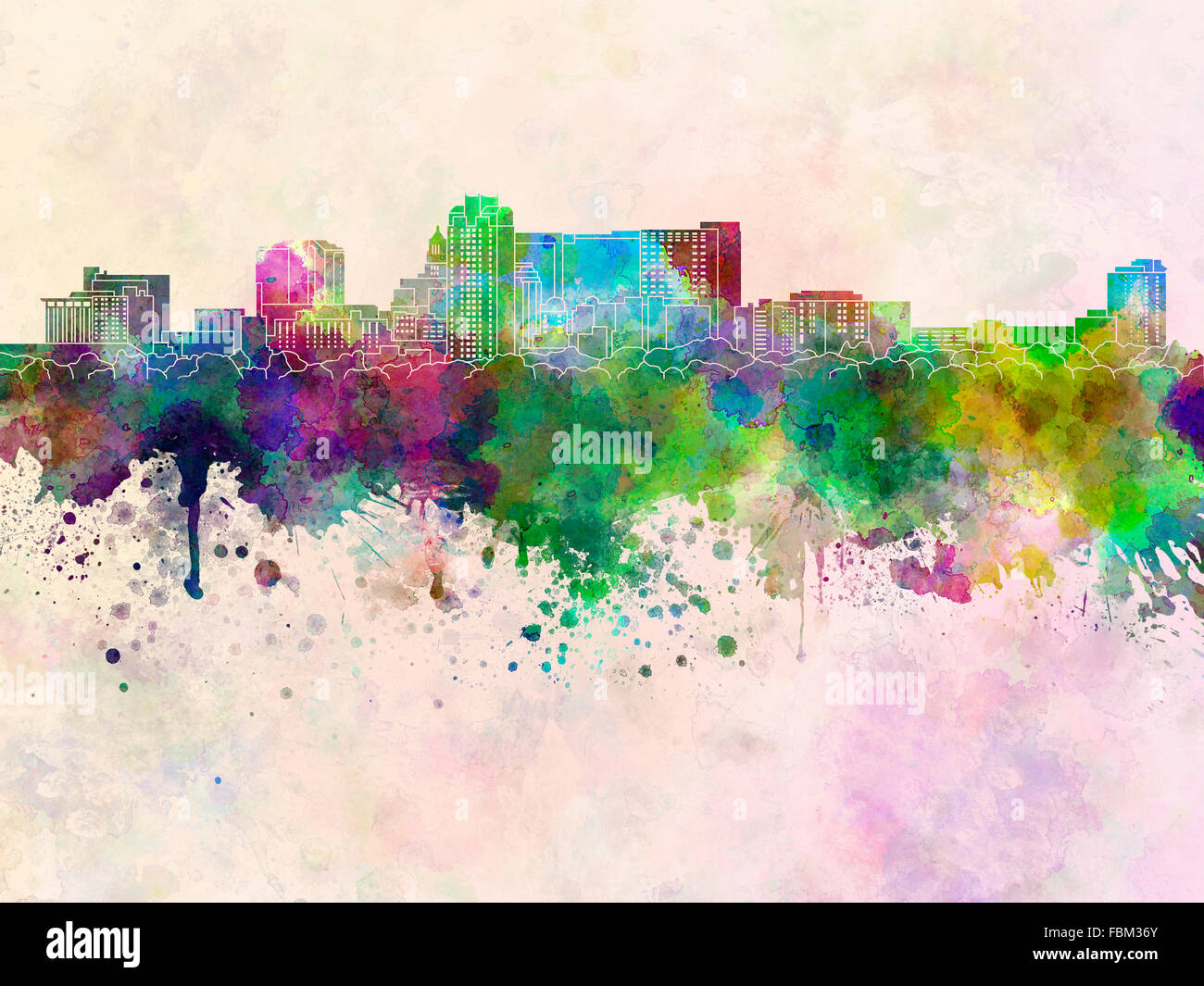 Rochester MN skyline in watercolor background - Stock Image