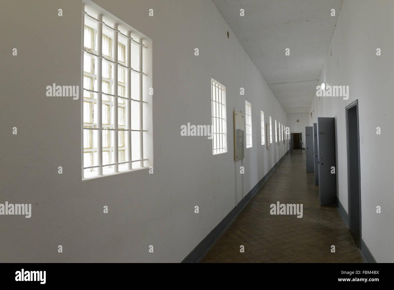 corridor inside  peniche, political prison - Stock Image