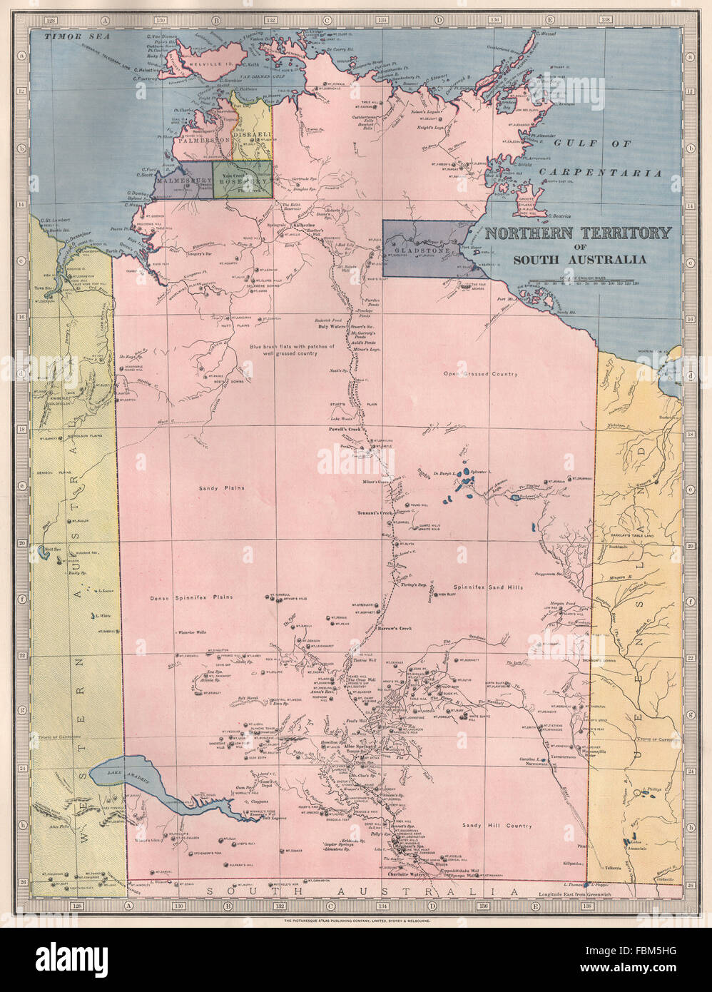 Map Of South Australia And Northern Territory.Northern Territory Of South Australia 5 Counties Telegraph Stock