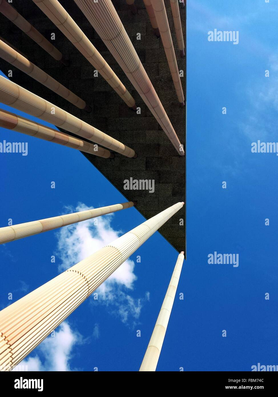 Directly Below View Of Angular Building - Stock Image