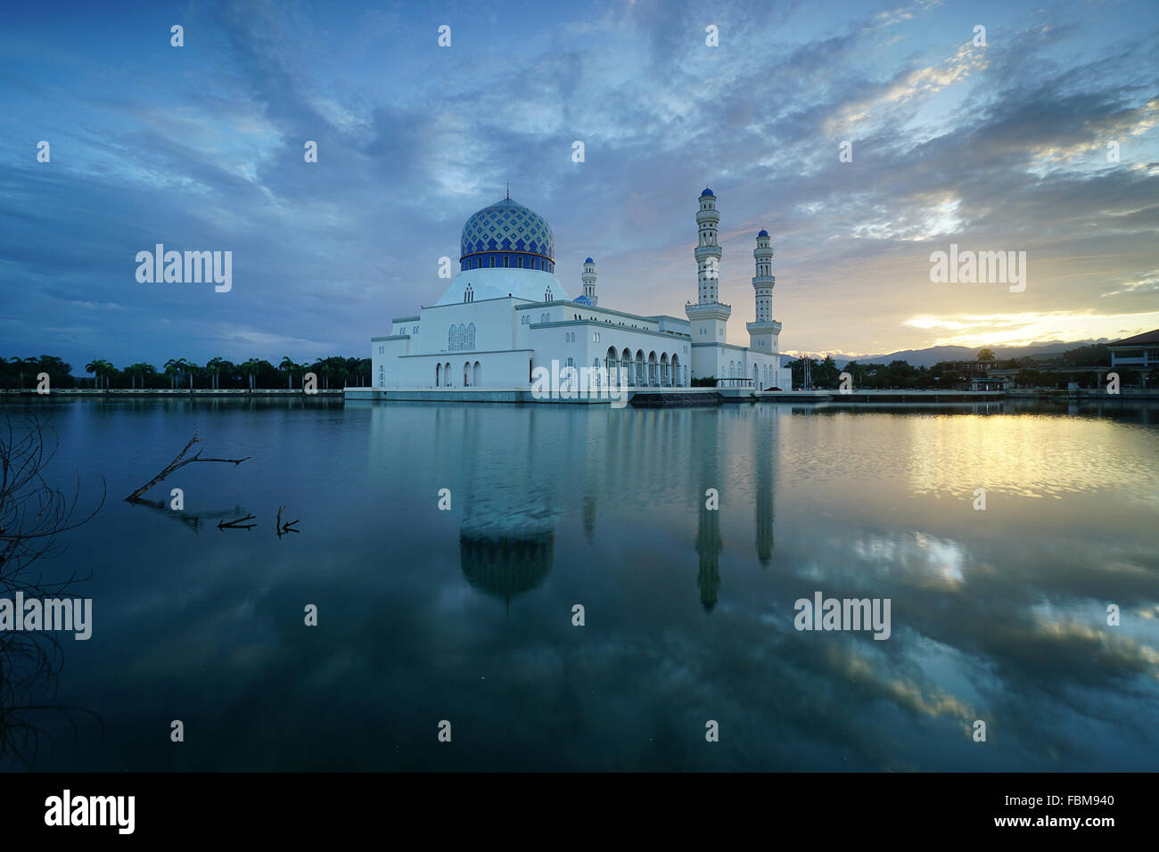 Floating Mosque,  Kota Kinabalu city, Sabah, Malaysia Stock Photo