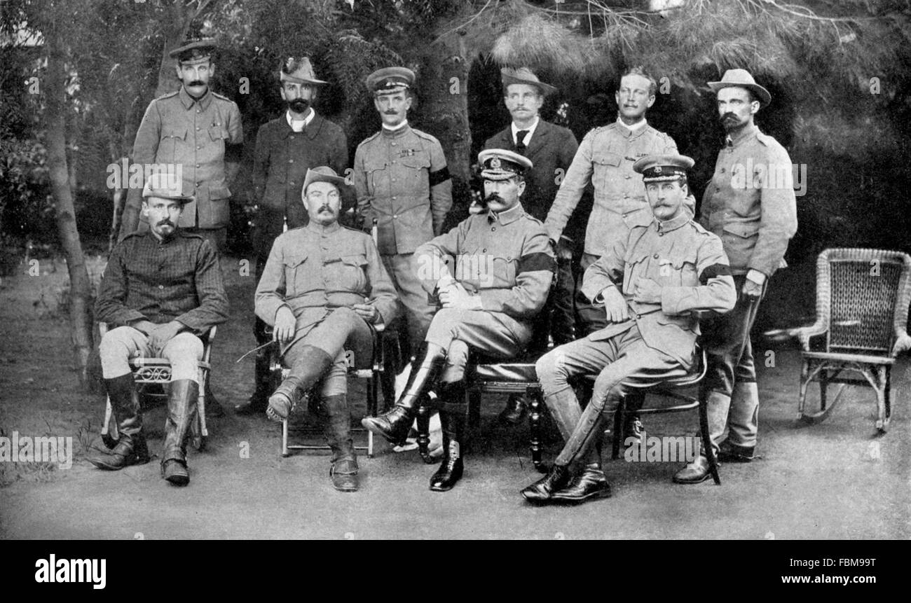 SECOND BOER WAR (1899-1902) Peace conference at Vereeniging 31 May 1902. From left standing: Col. Henderson, van - Stock Image