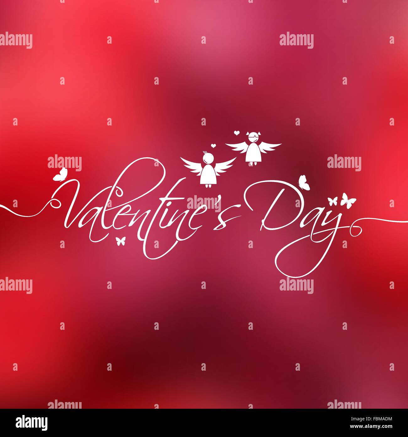 Valentine's Day hand lettering on blurred background for your design - Stock Vector