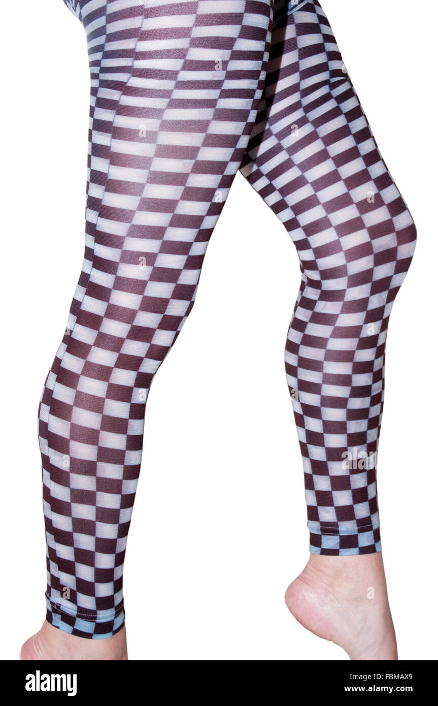 Womens Legs In White and Black Check Footless Tights - Stock Image