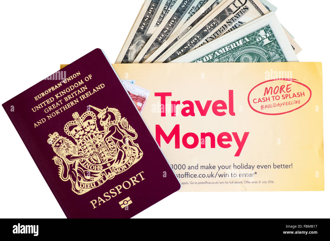 Post Office Travel Money American Dollars USD Notes Currency with UK Chipped Passport Cut Out - Stock Image