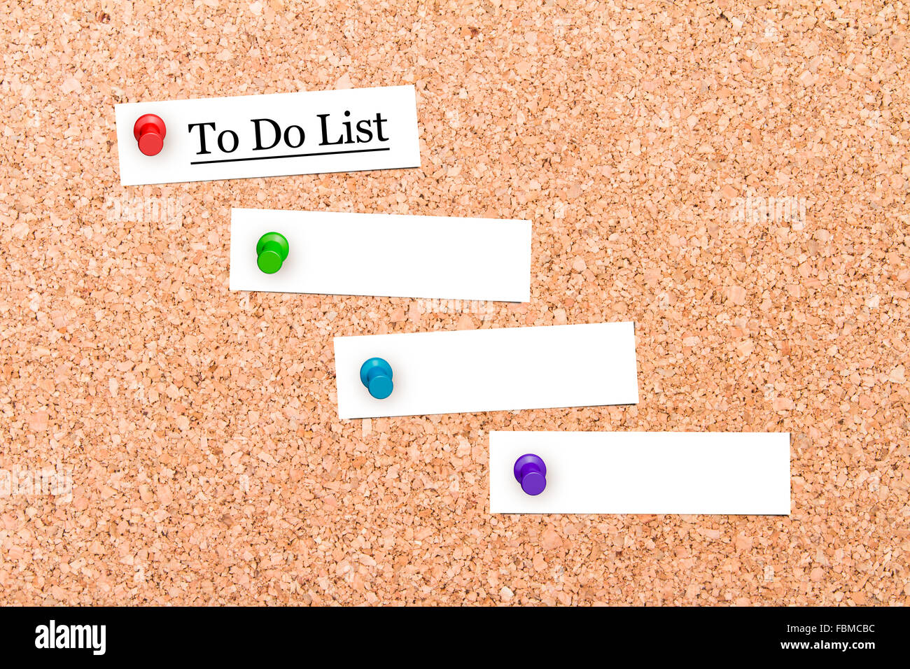 close up front view of illustrative corkboard with to do list text